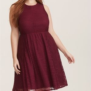 Torrid Burgundy Sleeveless Lace Trim Skater Dress